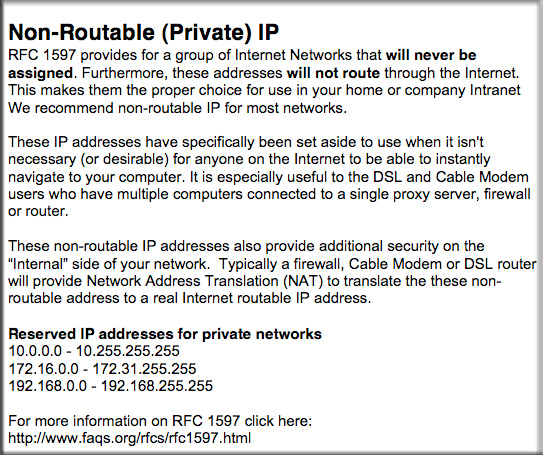 Non-Routable Private IP addreses - Reserved IP addresses